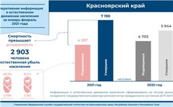 В первые месяцы 2021 года смертность в Красноярском крае превысила рождаемость