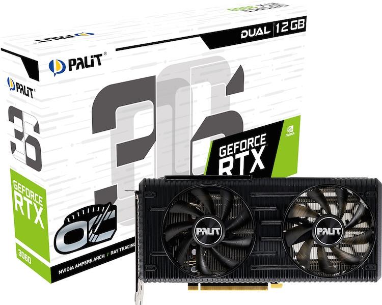 Palit представила видеокарты GeForce RTX 3060 Dual и StormX