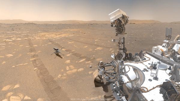 Опубликовано совместное «селфи» марсохода и первого на Марсе вертолета